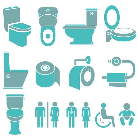 inodoro: iconos aseo, baño, aseo iconos conjunto