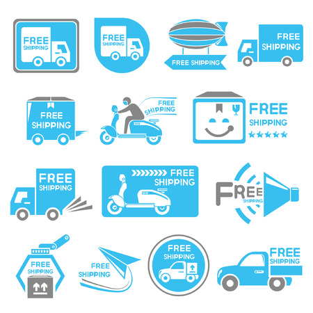 e commerce icon: free shipping label set Illustration
