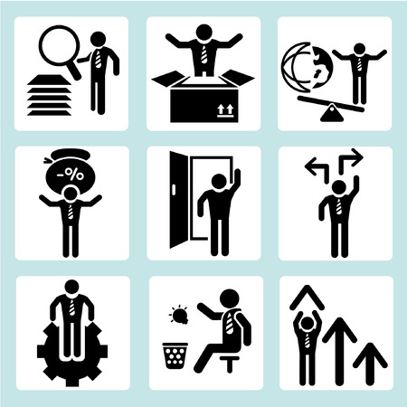 open the door: business management, business people Illustration