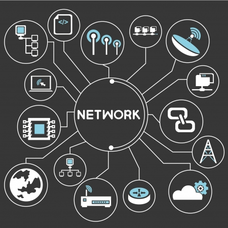 lan: network mind mapping, info graphic Illustration