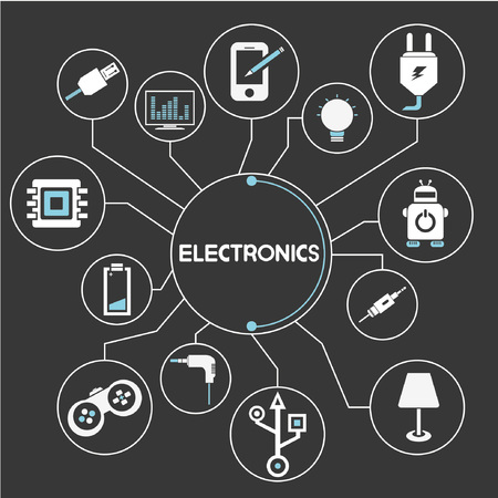 electronic device: electronics network, mind mapping, info graphic Illustration