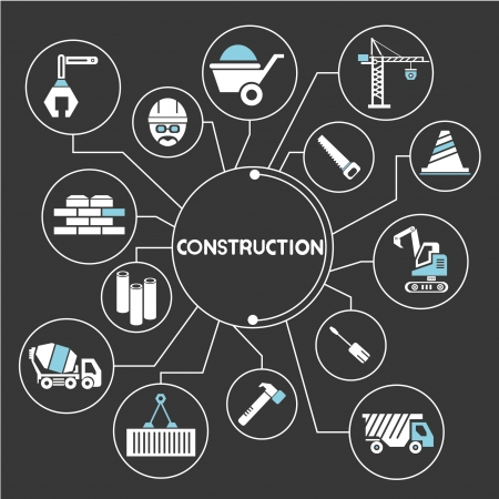 construction network, mind mapping, info graphic Illustration