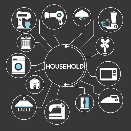kitchen appliances: household network, mind mapping, info graphic Illustration