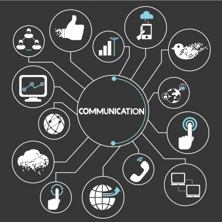 technology concept: communication network, mind mapping, info graphic