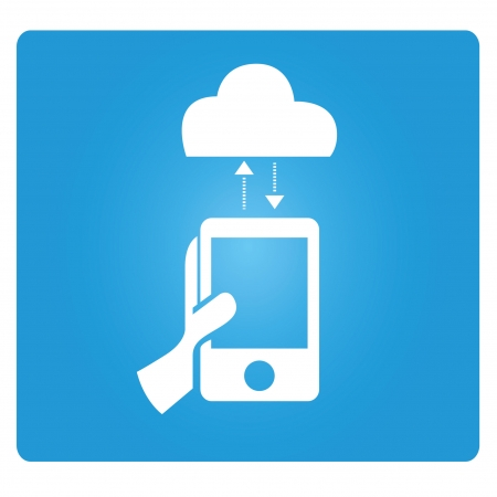 tablet pc in hand: cloud computing