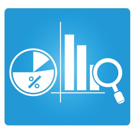 blue signage: business data, business analysis  Illustration