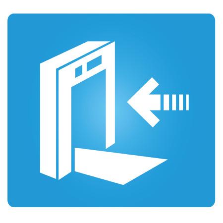blue signage: check point, gate Illustration