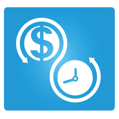 blue signage: money and time allocation Illustration