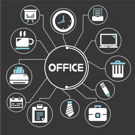 manage: office network, mind mapping, info graphics Illustration