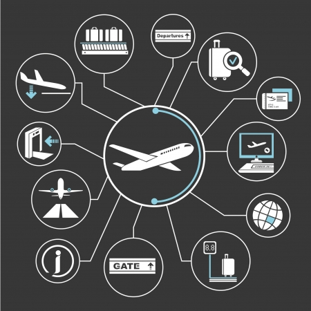 空港ネットワーク、マインド マッピング、情報グラフィック  イラスト・ベクター素材
