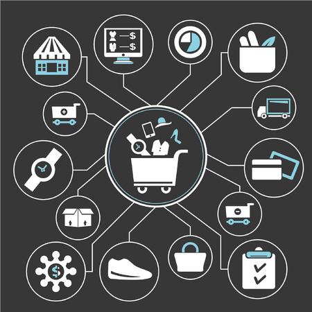 bevásárló hálózat, mind mapping, info grafika Illusztráció