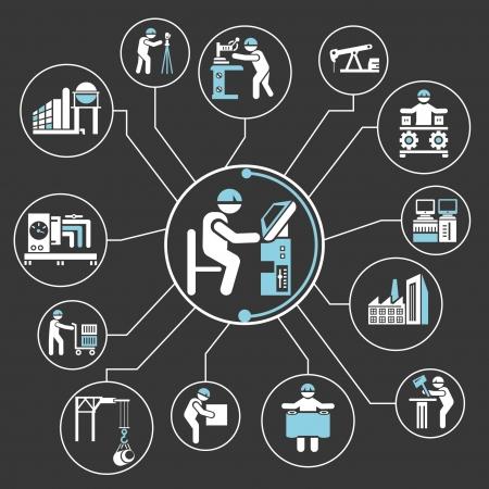 relaciones laborales: mapas mentales gesti�n de la industria, informaci�n gr�fica Vectores