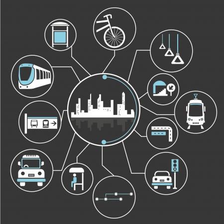 メトロポリスと公共交通機関の心マッピング情報グラフィック