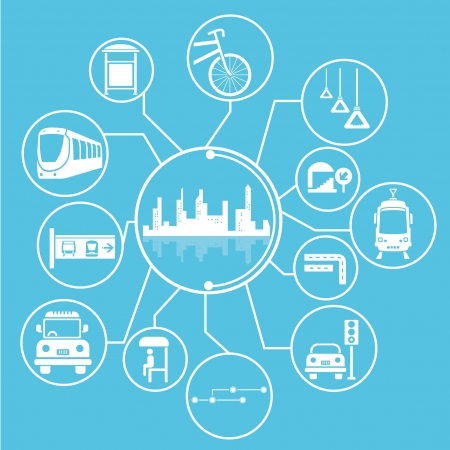 metropolis and public transit mind mapping, info graphic, blue theme Illustration