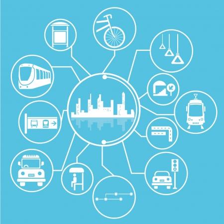 nagyváros és tömegközlekedési mind mapping, info grafikus, kék téma