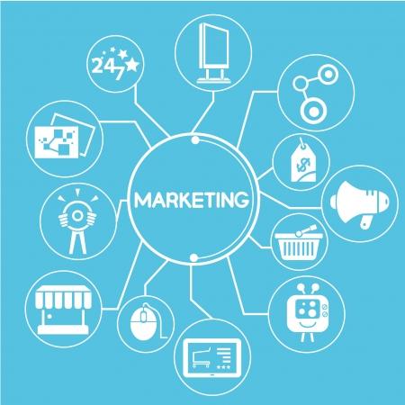 marketing mind mapping, info grafika, kék téma Illusztráció