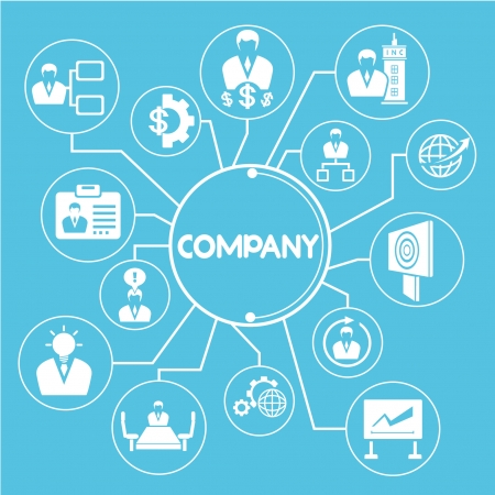 company and business mind mapping, info graphic, blue theme Vector