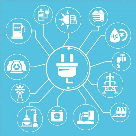 energy management: energy management mind mapping, info graphic, blue theme Illustration