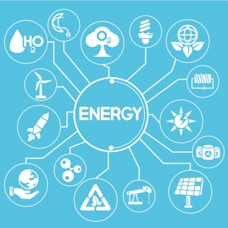 energy management mind mapping, info graphic, blue theme Vector