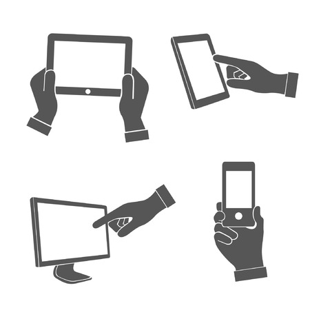 mobile devices: set of hands holding smart phone, pointing on smart phone tablet, electronic device