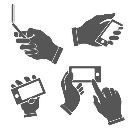 holding smart phone: set of hands holding smart phone, pointing on smart phone tablet, electronic device