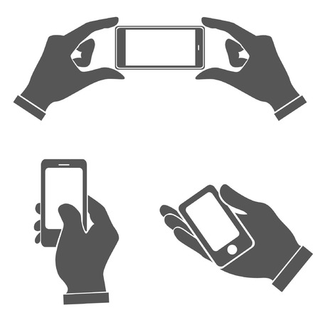 touch screen hand: set of hands holding smart phone, pointing on smart phone tablet, electronic device
