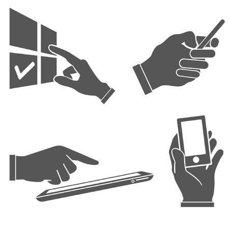 pointing hand: set of hands holding smart phone, pointing on smart phone tablet, electronic device