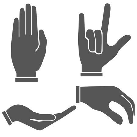 give hand: hand set, hand sign Illustration