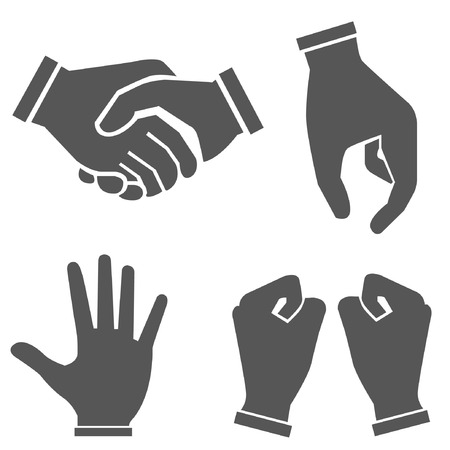 raising hands: hand set, hand sign Illustration