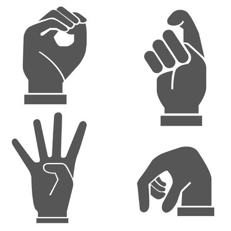 black grip: hand set, hand sign Illustration