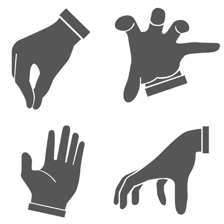 snapping fingers: hand set, hand sign Illustration