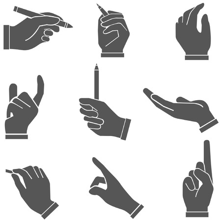 pointing finger pointing: writing hand set, sketch, hand set