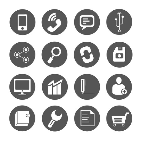 computer writing: web icons set, round buttons Illustration