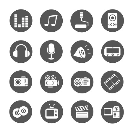 media icons, round buttons Vector