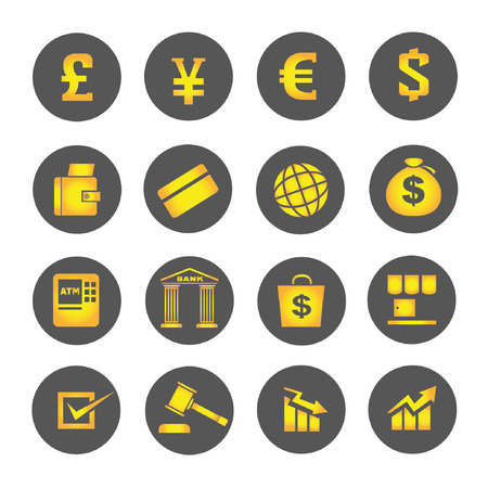 financial icons, round buttons, gold buttons Vector