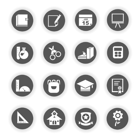 stationery icons, school icons Vector