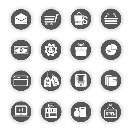e commerce: e commerce iconen, marketing iconen Stock Illustratie