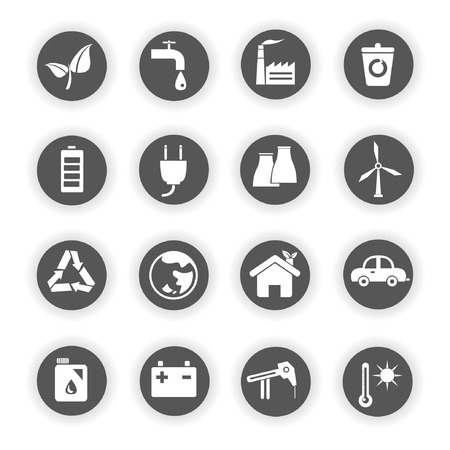 energy icons, go green icons Vector