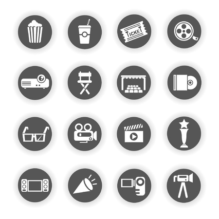 a collection of awards icon: movie, cinema icons Illustration