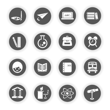 round back: education icons Illustration