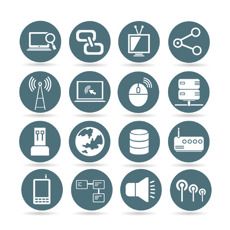 data center: network and communication icons, web buttons, app buttons set Illustration