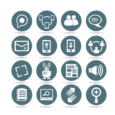 network and social media icons, web buttons, app buttons set Vector