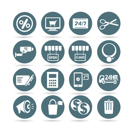 shopping icons, web buttons, app buttons set Vector