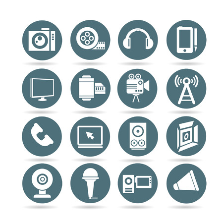telephone mast: media icons, web buttons, app buttons set Illustration