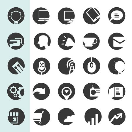 telephone mast: social network icons, web buttons, app buttons set Illustration