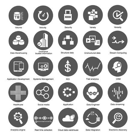 grandes iconos de datos, botones de gestión de datos Ilustración de vector