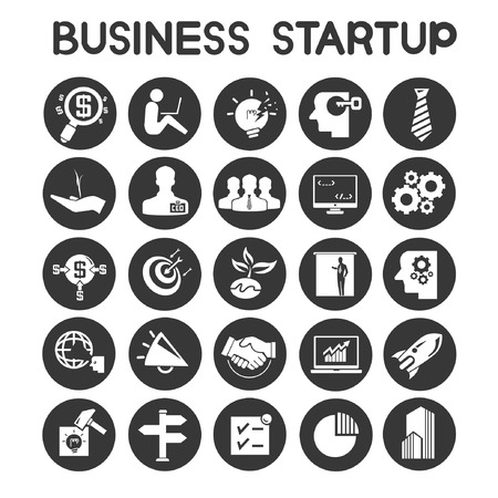 entrepreneur: business start up icons