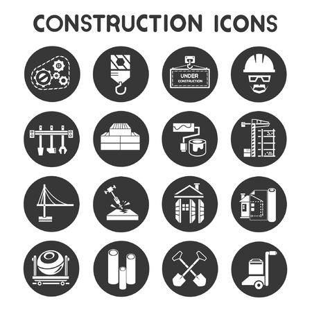 machine operator: construction icons, buttons
