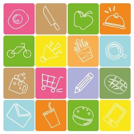 sketched icons: Iconos de los alimentos dibujados, el concepto de l�nea de l�piz