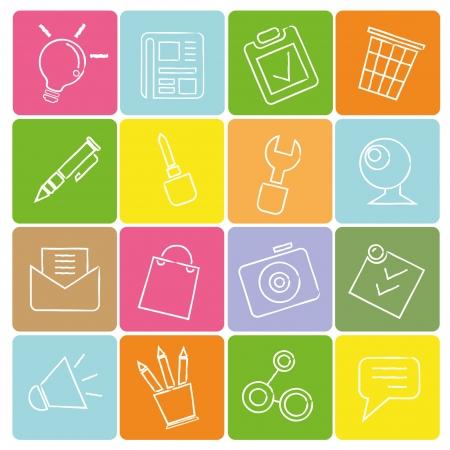 sketched icons: iconos dibujados, el concepto de l�nea de l�piz Vectores